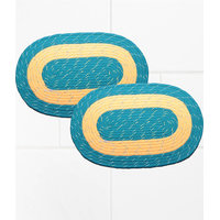Deal Wala Pack Of 2 Oval Shape Jute Door Mat - Blue