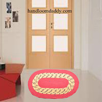 Deal Wala Pack Of 2 Oval Shape Jute Door Mat - Orange
