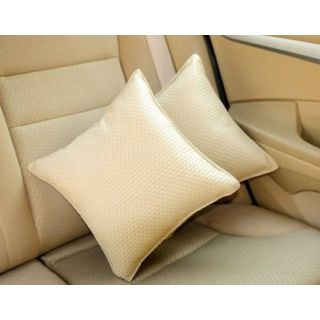 Pegasus Premium Leatherite Car Pillow Cushion For Ford Ecosport (Rectangular, Pack of 2)