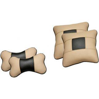 Pegasus Premium Leatherite Car Pillow Cushion For Hyundai i10 (Rectangular, Pack of 4)