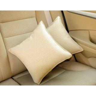 Pegasus Premium Leatherite Car Pillow Cushion For Honda Amaze (Rectangular, Pack of 2)