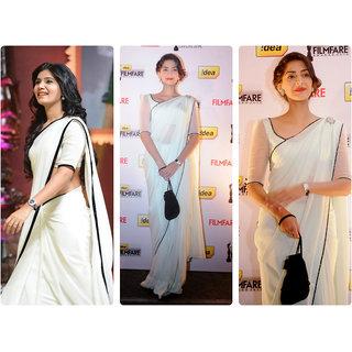 Pradeep Fashion White Plain Chanderi Sarre With Blouse