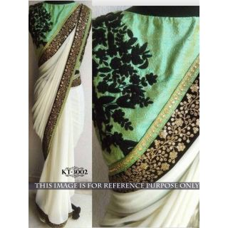 Pradeep Fashion Cream Embroidered Georgette Sarre With Blouse