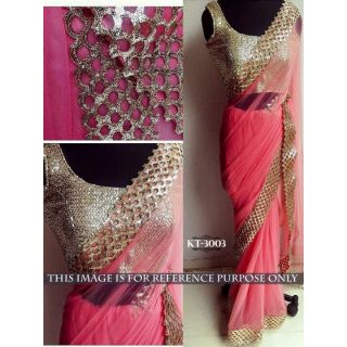 Pradeep Fashion Pink  Net  Embroidered Saree With Blouse