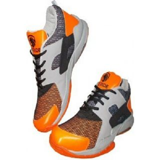 Port Mens Labron Stride Orange white PU Badminton Shoes