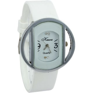 Shree Kawa White Color Strap And Dial With Circular Silver Case Watch For Women