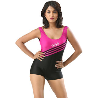 Stunning Pink Black One Piece Swim Suit With Slanted Stripes.