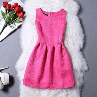 Women Western Dress Sleeveless Pink Skater Plus Size Party Dress