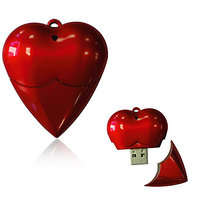 Microware 16GB Red Plastic Heart Shape Designer Fancy Pendrive