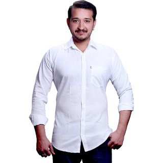 New Democratic Men's White  Casual Shirt