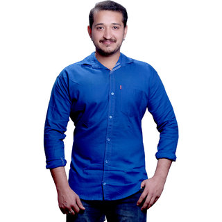 LC Slimfit Plain Blue Casual Shirt