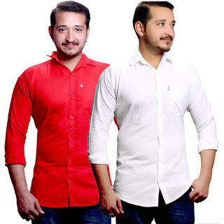 LC Plain Red And White Casual Slimfit Shirts