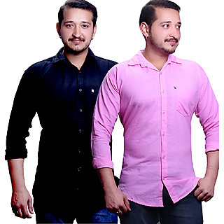 LC Plain Black And Pink Casual Slimfit Shirts