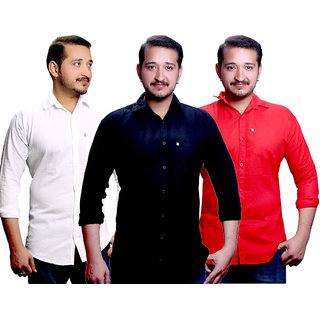 LC Combo Of 3 Plain Casual Slimfit Shirt(White,Black,Red)
