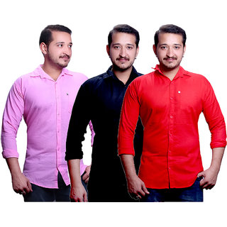 LC Combo Of 3 Plain Casual Slimfit Shirt(Pink,Red,Black)