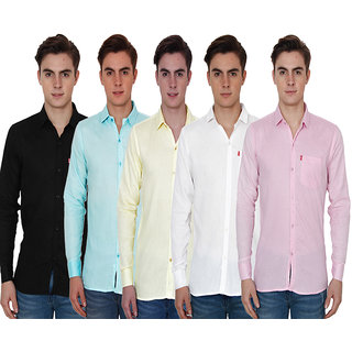 New Democratic Plain Casual Slim fit Shirts (Pack Of 5)