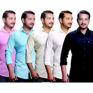 LC Combo Of 5 Plain Casual Slimfit Shirts