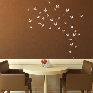 Decor Villa 2 Butterflys Sliver Wall Sticker (22 X 22) Inch