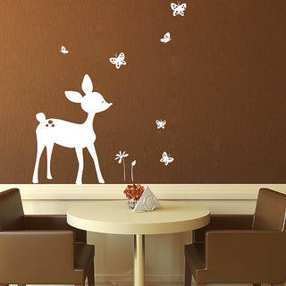 Decor Villa Deer Paly With Butterfly Wall Decal & Sticker