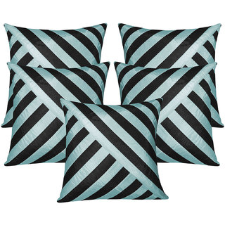 Oblique Design Black N Sky Blue Cushion Cover 30x30 Cms (Set of 5)