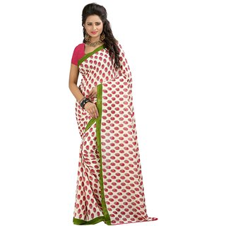 ROYALFASHION Red White Printed Georgette Sarre With Blouse