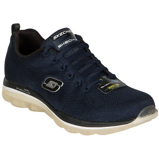 Skechers Mens Black And Navy Lace-up Running Shoes