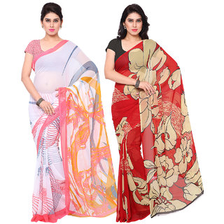 Surat Tex White  Red Colored Chiffon  Heavy Georgette Printed Casual Wear Combo Of 2 Saree -ST2SE057
