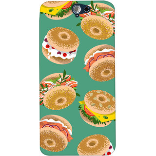 Oyehoye Burger For Foodies Pattern Style Printed Designer Back Cover For HTC One A9 Mobile Phone - Matte Finish Hard Plastic Slim Case