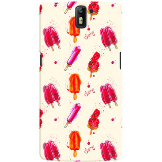 Oyehoye Ice Cream Pattern Style Printed Designer Back Cover For OnePlus One Mobile Phone - Matte Finish Hard Plastic Slim Case