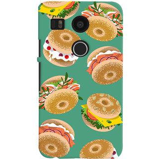 Oyehoye Burger For Foodies Pattern Style Printed Designer Back Cover For LG Google Nexus 5X Mobile Phone - Matte Finish Hard Plastic Slim Case