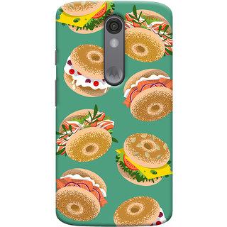 Oyehoye Burger For Foodies Pattern Style Printed Designer Back Cover For Motorola Moto X Force Mobile Phone - Matte Finish Hard Plastic Slim Case