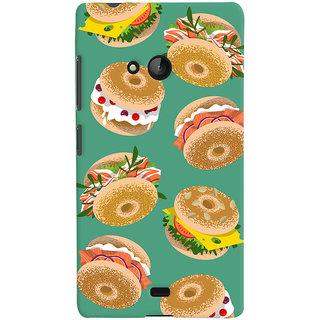 Oyehoye Burger For Foodies Pattern Style Printed Designer Back Cover For Microsoft Lumia 540 Mobile Phone - Matte Finish Hard Plastic Slim Case