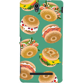 Oyehoye Burger For Foodies Pattern Style Printed Designer Back Cover For Sony Xperia C3 / Dual Sim Mobile Phone - Matte Finish Hard Plastic Slim Case