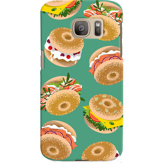 Oyehoye Burger For Foodies Pattern Style Printed Designer Back Cover For Samsung Galaxy S7 Mobile Phone - Matte Finish Hard Plastic Slim Case