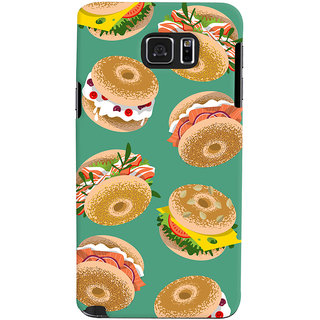 Oyehoye Burger For Foodies Pattern Style Printed Designer Back Cover For Samsung Galaxy Note 5 Dual Sim / Edge Plus Mobile Phone - Matte Finish Hard Plastic Slim Case