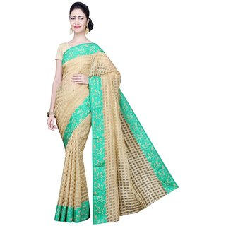 Bhuwal Green Pink Printed Jacquard Sarre With Blouse
