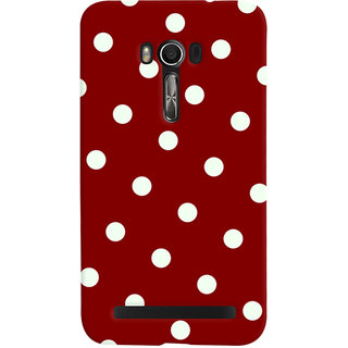 Oyehoye Red And White Polka Dots Pattern Style Printed Designer Back Cover For Asus Zenfone Go Mobile Phone - Matte Finish Hard Plastic Slim Case
