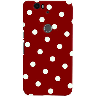 Oyehoye Red And White Polka Dots Pattern Style Printed Designer Back Cover For Huawei Google Nexus 6P Mobile Phone - Matte Finish Hard Plastic Slim Case