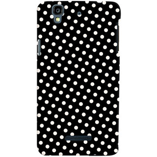 Oyehoye Black and White Polka Dots Pattern Style Printed Designer Back Cover For Micromax Yureka Plus Mobile Phone - Matte Finish Hard Plastic Slim Case