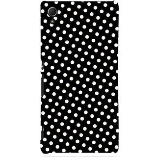 Oyehoye Black and White Polka Dots Pattern Style Printed Designer Back Cover For Sony Xperia Z4 Mobile Phone - Matte Finish Hard Plastic Slim Case