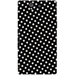 Oyehoye Black and White Polka Dots Pattern Style Printed Designer Back Cover For Sony Xperia Z Mobile Phone - Matte Finish Hard Plastic Slim Case
