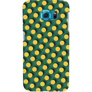 Oyehoye Green and Yellow Polks Dots Pattern Style Printed Designer Back Cover For Samsung Galaxy S6 Mobile Phone - Matte Finish Hard Plastic Slim Case