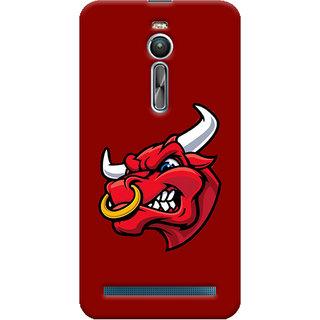 Oyehoye Asus Zenfone 2 ZE550ML Mobile Phone Back Cover With Raging Bull - Durable Matte Finish Hard Plastic Slim Case