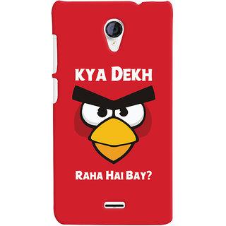 Oyehoye Kya Dekh Raha Hai Bay Quirky Printed Designer Back Cover For Micromax Unite 2 A106 Mobile Phone - Matte Finish Hard Plastic Slim Case