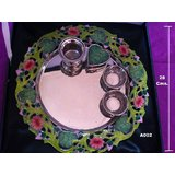Traditional Silver Plated & Enameled (Meenakari Work) Aarti /puja Thali