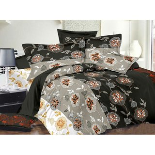 Always Plus Black Floral Cotton Bedsheet (1 Double bedsheet With 2 Pillow Cover)with TC180