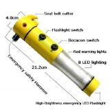 5 in 1 Car Hammer, Seat Belt Cutter, Flash Light, Warning Light, Hammer With Free Led Ear Pick