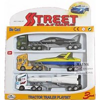 Tractor Trailer Die Cast Free Wheels Metal Trucks Plastic Parts Toys Kids Play