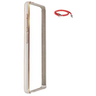 Samsung Galaxy S4 Bumper Case Cover Silver With AUX Cable