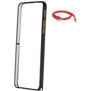 HTC Desire 526 Bumper Case Cover Black With AUX Cable